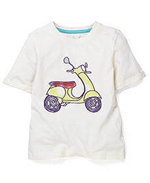 Mothercare Half Sleeves T-Shirt Scooter Print - Cream
