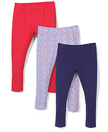 Mothercare Plain And Floral Leggings Pack Of 3 - Red Navy White