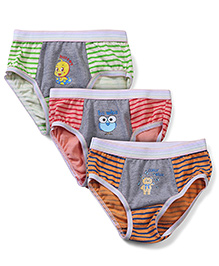 Babyhug Panties Multi Print Set Of 3 - Coral Orange Green