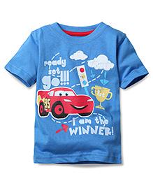 Disney by Babyhug Half Sleeves T-Shirt Lightening McQueen Print - Blue