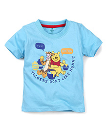 Disney by Babyhug Half Sleeves T-Shirt Tigger and Winnie Print - Blue