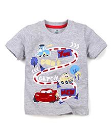 Disney by Babyhug Half Sleeves T-Shirt You Can't Catch Me Print - Grey