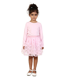 Chatterbox Polka Dots Print Skirt - Light Pink