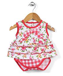 Babyhug Sleeveless Bodysuit Floral Print - White Light  Red
