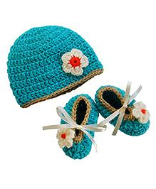 Dollops of Sunshine Bambino Hat and Booties Set - Aqua Green