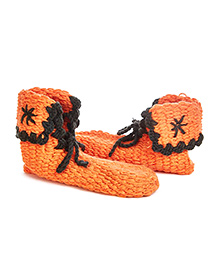 Mayra Knits Rogue Ankle Length Booties - Orange