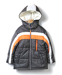 Beebay Full Sleeves Striped Quilted Hooded Jacket - Grey