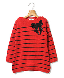 Beebay Full Sleeves Striper Sweater Sequin Work - Red
