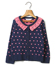 Beebay Full Sleeves Sweater Heart Design - Navy