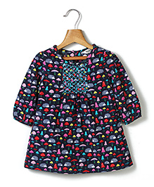 Beebay Long Sleeves Frock Mushroom Print - Navy