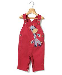 Beebay Dungaree Style Romper Giraffe Embroidery - Maroon