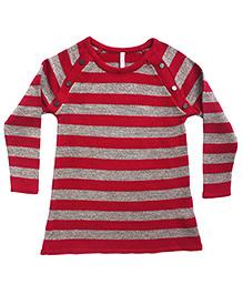 Campana Striped A Line Woolen Dress - Red Silver