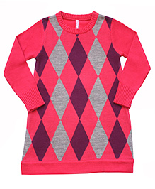 Campana Argyle Pattern Woolen Dress - Pink Purple