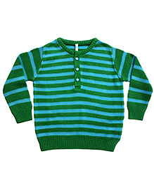 Campana Striped Henley Sweater - Green Blue