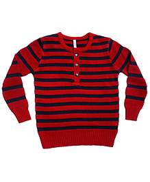 Campana Striped Henley Sweater - Red Navy