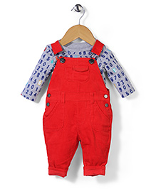 Mothercare Full Sleeves Onesie With Dungaree Number Print - Red Grey