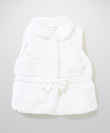 Mothercare Sleeveless Fur Jacket Bow Applique - Cream