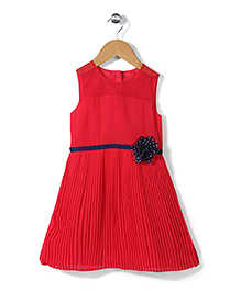 Mothercare Sleeveless Party Frock Floral Applique - Red