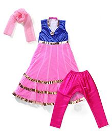 Kilkari Sleeveless Kurti Churidar With Dupatta - Pink Blue