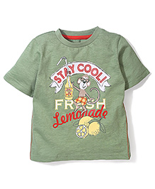 Mothercare Half Sleeves T-Shirt Lemonade Print - Light Green