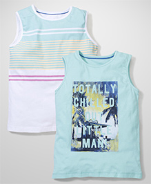 Mothercare Sleeveless T-Shirts Set of 2 - Sea Green White