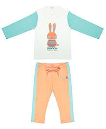 WowMom Full Sleeves T-Shirt And Track Pant Set -  Orange and Turquoise