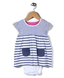 Mothercare Short Sleeves Frock Style Onesie - White Blue