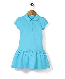 Mothercare Short Sleeves Pique Dress - Aqua Blue