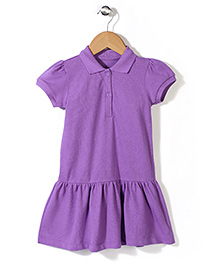 Mothercare Short Sleeves Pique Dress - Purple