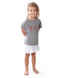 NeedyBee Half Sleeves Organic Cotton Top Animal Print - Grey