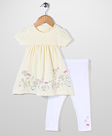 Mothercare Short Sleeves Floral Dress And Legging - Yellow