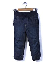 Sela Full Length Denim Pants - Dark Blue