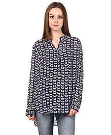 Oxolloxo Long Sleeves Butterfly Print Maternity Top Blue - Small