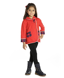 My Lil Berry Winter Jacket with Checkered Cuffs - Red