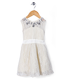 Gini & Jony Sleeveless Party Wear Dress - Cream