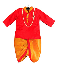Swini's Baby Wardrobe Kurtha & Dhothi Set - Red & Gold