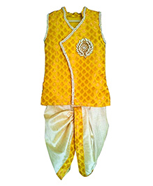 Swini's Baby Wardrobe Kurtha & Dhothi Set - Yellow & Off White