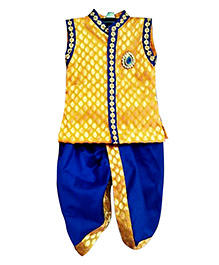 Swini's Baby Wardrobe Kurtha & Dhothi Set - Yellow & Blue