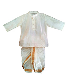 Swini's Baby Wardrobe Kurtha & Dhothi Set - Off White