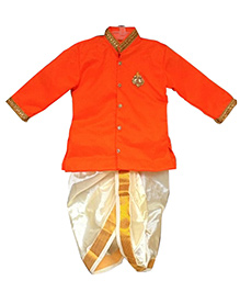 Swini's Baby Wardrobe Kurtha & Dhothi Set - Off White & Orange