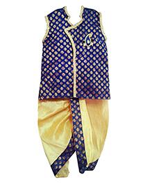 Swini's Baby Wardrobe Kurtha & Dhothi Set - Off White & Blue