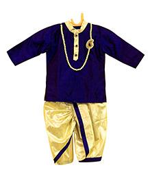 Swini's Baby Wardrobe Kurtha & Dhothi Set - Silver & Blue