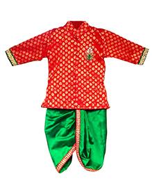 Swini's Baby Wardrobe Kurtha & Dhothi Set - Red & Green