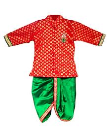 Swini's Baby Wardrobe Kurtha & Dhothi Set - Red & Green