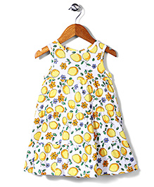 Mothercare Sleeveless Frock Lemon Tree - White Yellow