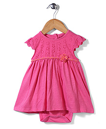 Mothercare Short Sleeves Frock Style Onesie Floral Applique - Dark Pink