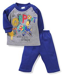 Babyhug Raglan Sleeves T-Shirt And Leggings  Pilot Print - Royal Blue Grey