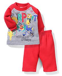 Babyhug Full Sleeves T-Shirt and Leggings Set At the Airport Print - Red