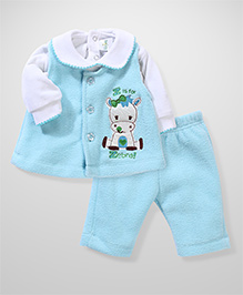 Babyhug Full Sleeves Fleece Top And Leggings Zebra Embroidery - White Aqua Blue