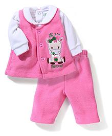 Babyhug Full Sleeves Fleece Top And Leggings Zebra Embroidery - White Pink
